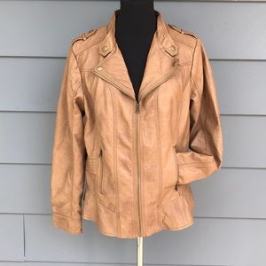 Brown ruffle zipper faux leather jacket coat
